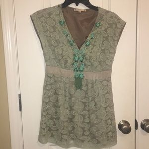 Nanette LePore Green Lace Beaded Top